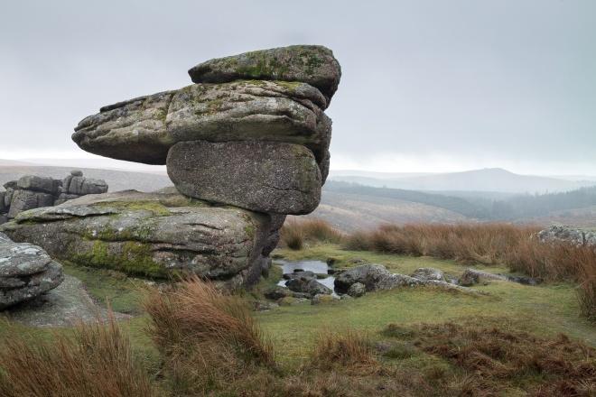 Logan stone, Black Tor (nr Burrator), horizontal sleet