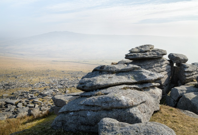 Great Mis Tor from Staple Tor, after the eclipse